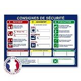Consignes de sécurité en entreprise - Panneau d'affichage - Plastifié et effaçable - Fabriqué en France