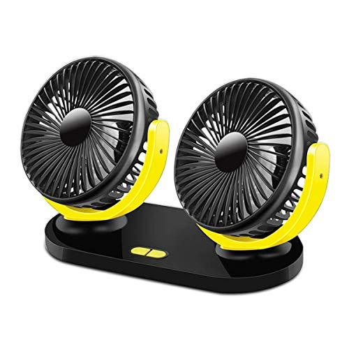Auto Ventilator, Uong 12V/24V USB-Ventilatoren 360 ° Drehbarer Doppelkopf Autolüfter Elektrischer Autolüfter mit 3 Einstellbaren Geschwindigkeiten und USB-Aufladung für Auto Büro Hause(Schwarz + Gelb) Gelb 12