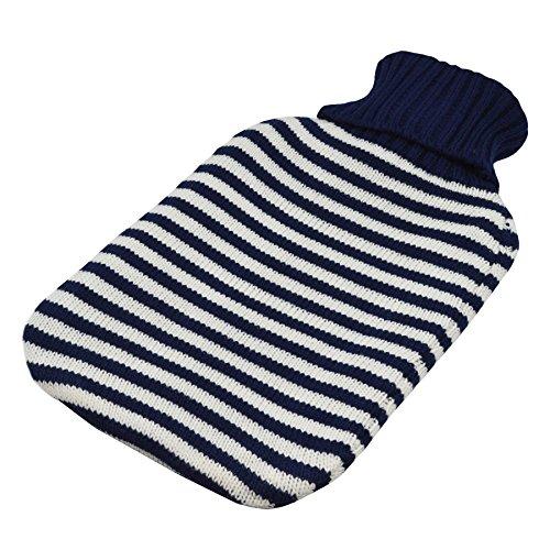 Grande bouillote avec housse tricotée - Bandes bleu