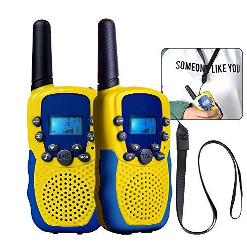 funkgeraete fuer kinder kingtoys 2X Funkgeräte für Kinder,Funksprechgerät 3KM Reichweite 8 Kanäle VOX Taschenlampe Sprechfunkgerät Funkgeräte mit LCD Display Walkie Talkies(Gelb)