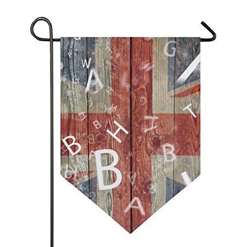 NaiiaN Garten Flagge Holz Uk Flag Letter 12 x 18,5 Zoll doppelseitige Banner für Outdoor Rasen Dekor Dekor