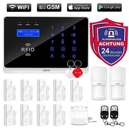 ERAY WM3FX Alarmanlage WiFi+GSM/3G, APP Smart Steuern (iOS/Android), SMS und Anruf, Menü und Anleitung auf Deutsch, Alarmanlage Komplettsystem für die Sicherheit des Zuhauses, Büros, und Geschäftes