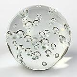 Glaskugel 100mm - Briefbeschwerer mit Standfläche und Luftblasen