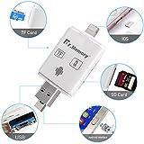 Lector de Tarjetas Micro SD de Memoria Externa, Memory Stick Lightning USB 2.0, Dr.Memory OTG externo, Tarjeta de Lector para iPhone, iPad, Mac, Windows y Linux PC, Blanco