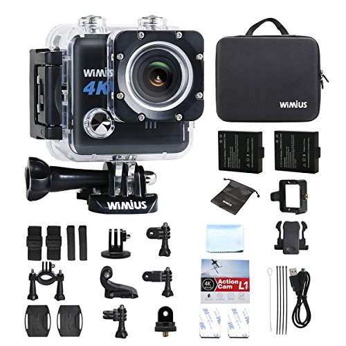 Galleria fotografica Action Cam 4K WIFI Fotocamera Subacquea Impermeabile HD 20MP Action Sport Camera 170° Grandangolare + 2 Batterie e Kit Accessori (Nero)
