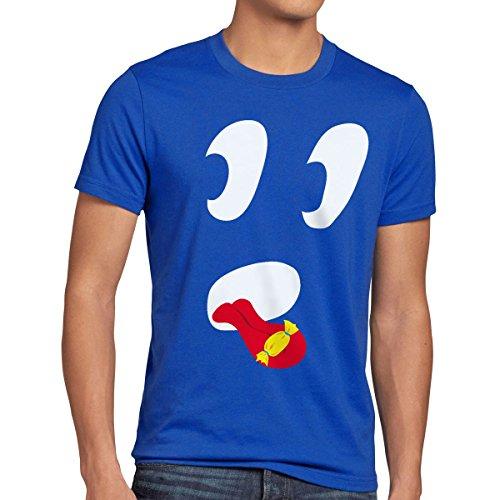style3 Fantasma Lindo Camiseta para Hombre T-Shirt, Talla:M;Color:Azul