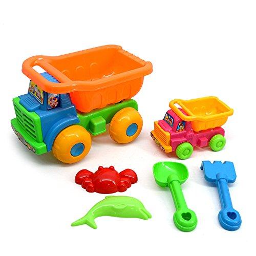 JYSPORT Sandspielzeug Dump Truck Spielen Beach Toy Sandkasten Set (Sand-Aushub Werkzeuge / Sand Eimer / Sand mouldbeach Warenkorb) (Double car toy 6pcs)