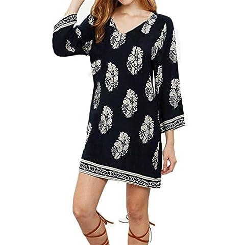 Frauen Langarm Kleid,Moonuy Boho Deep V Kleid Blumenmuster Kleid (S,