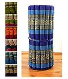 Kapok Rollmatte in 190cm x 75cm x 4,5cm der Marke Asia Wohnstudio; Liegematte bzw. Yogamatte, Thaikissen, Thaimatte als asiatische Rollmatratze (blau)