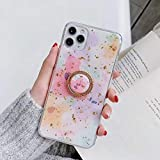 SIZOO - Fitted Cases - Luxury Pink Floral Gold Foil Ring Holder Phone Case for for Iphone 11 Pro Max X XS XR Xsmax 7 8plus Cl