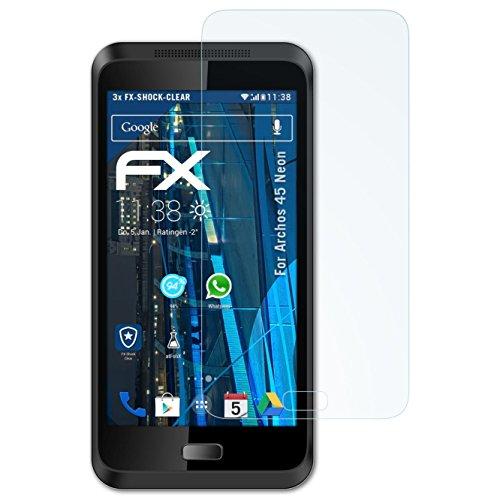 atFolix Schutzfolie kompatibel mit Archos 45 Neon Panzerfolie, ultraklare und stoßdämpfende FX Folie (3X)