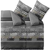 CelinaTex Fashion Crazy, Bettwäsche 4tlg 135 x 200 cm grau anthrazit weiß schwarz Baumwolle, Kopfkissen Bettbezug Set, atmungsaktiv Bett Garnitur Kissen Bezug, 6000353