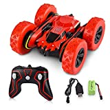 Crazepony-UK Remote Control Car Stunt Cars, Electric Rc Cars Gift for Kids Adults, 1/28 2.4Ghz Remote Control Off Road Electric Race Vehicles Double Sided 360 Degree Spins and Flips - Red