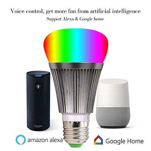 Molie Smart Lampe 7W RGB Glühbirne Led Wifi Lampen Dimmbar E27 Wlan Lampe mit Amazon Alexa,Google Home,Steuerbar via App - 5