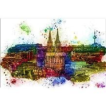 Leinwandbild 120 x 80 cm: Köln Skyline mit dem Kölner Dom von Peter Roder - fertiges Wandbild, Bild auf Keilrahmen, Fertigbild auf echter Leinwand, Leinwanddruck