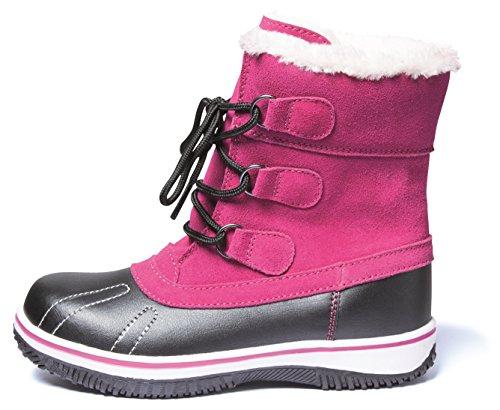 Mädchen Canadian Boots Snowboots Schneestiefel Winterstiefel Stiefel für Kinder Jugendliche Gr.33-36 Fuchsia Rot Warm Gefüttert (36)