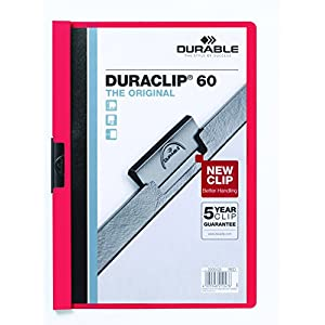 Durable HUNKE & Yoke Clamp Clip Folder® 60, Hard Foil, 60 Pages, Clear/Red
