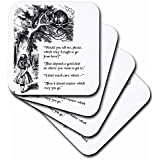 3dRose Which Way Ought I Go From Here Chesire Cat - Alice In Wonderland Quote - Ceramic Tile Coasters, Set Of 4 (cst_193784_3)
