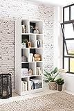 FineBuy Bücherregal Andy 181 x 62 x 34 cm Holz Weiß | Modernes Standregal mit 10 Fächern | Aufbewahrungsregal Universal Regal für Bücher & Ordner | Aktenregal