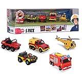Dickie-Spielzeug Júpiter Luz & Sonido | Set 5 Vehículos | Mini Serie Die Cast | Sam El Bombero