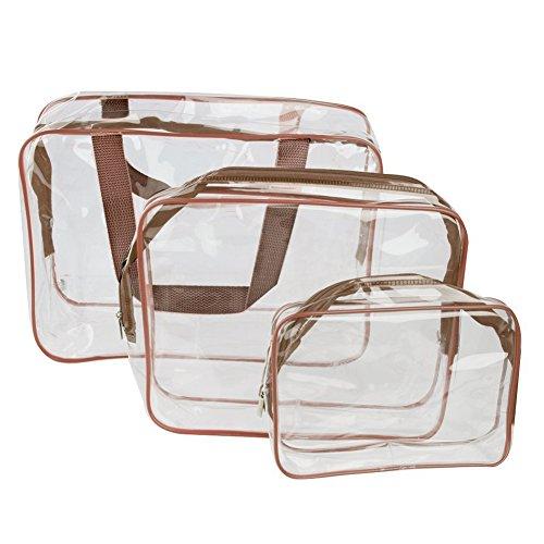 Chytaii 3X Kit de Trousses de Toilette Sac Pochette de Rangement Organisateur Cosmétique Maquillage Imperméable Transparent PVC Brun