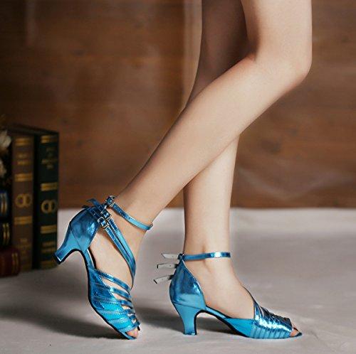 Minitoo QJ6105 - Sandali da ballo, dadonna, modello a dita scoperte, ideali per salsa, tango e balli latino-americani Blue-10cm Heel