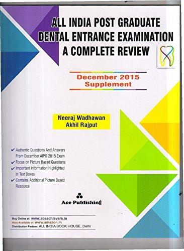 ALL INDIA POST GRADUATE DENTAL ENTRANCE EXAMINATION DECEMBER 2015 SUPPLEMENT