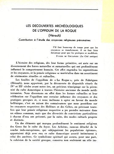 es decouvertes archeologiques de l'oppidum de la Roque (Herault) .