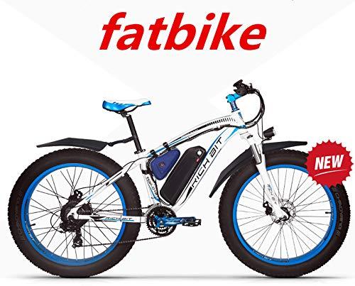RICH BIT ZDC-022 1000W 48V 17AH Bici Elettriche per Il Ciclismo, con Parafanghi, Blu