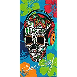 Regalitostv Day of The Dead* Toalla Playa Grande 95 X 175 CM Tacto Terciopelo 100% Algodón (360g) (Calavera Rojo 235)