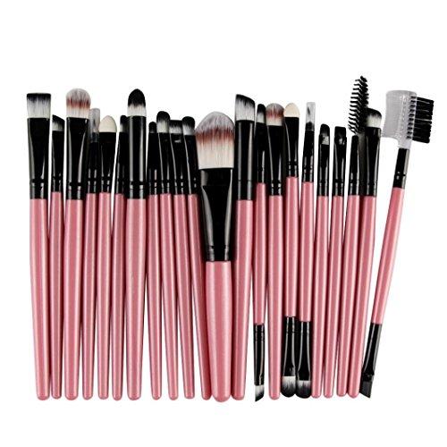 Internet 22 Pièces Outils Laine Maquillage Ensemble de Brosses Trousse de Pinceaux Maquillage (Rose)