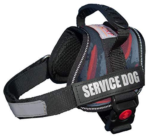 ALBCORP Reflektierende Service Hund Weste/Geschirr, Gewebtes Polyester & Nylon, Komfortable Weiche Polsterung, Rot/Schwarz, XXS 15''- 18'' Girth, Rot Camouflage -