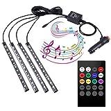 4 Stück LED 7 Farben LED-Streifenlichter zum Autoinnenraum