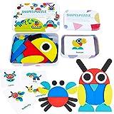 Lewo Puzzle di Legno Blocchi di Modello in Legno Forme Geometriche Animali Puzzle Giocattoli Educativi Precoci Tangram Set per Bambini con 20 Carte Design