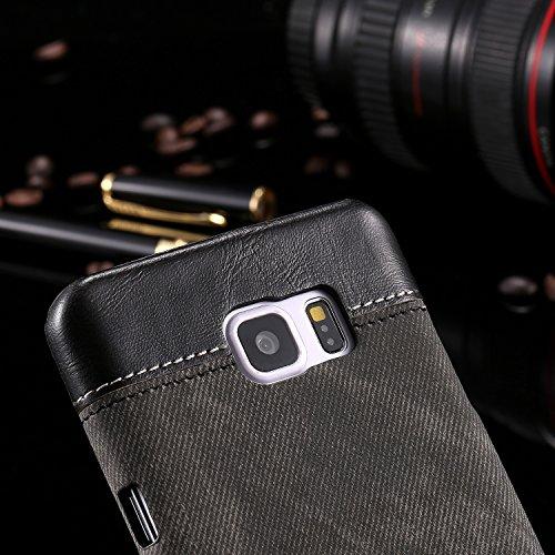 FeiNianJSh Für Samsung Galaxy Note 5 Demin Patchwork Design Business Stil PC + PU-Leder schützende Harte zurück Fall Deckung (Farbe : Schwarz)