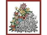 """Questo tessuto stampato per ricamo è chiamato dal design Works in una gamma zenbroidery. Questo è un diritto e albero di Natale misura 10""""x 10"""" x 25(cm). La confezione contiene tessuto bianco con contorno nero design, ago, colore illustrato..."""