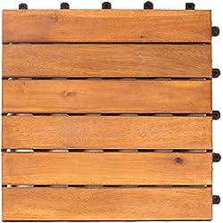 Vanage - Caillebotis en bois - Lot de 9 - Emboîtables et ultra simples à installer - Parfait pour terrasses et balcon - En bois d'acacia