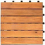 Vanage Holzfliesen 9-er Kachel Set, geeignet als Terrassenfliesen und Balkonfliesen, aus Akazien Holz, Design: Classic, braun, 30 x 30 x 2,4 cm