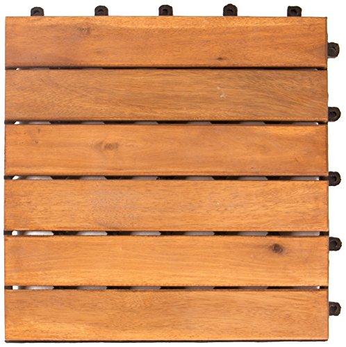 Vanage Holzfliesen 9-er Kachel Set, geeignet als Terrassenfliesen und Balkonfliesen, aus Akazien Holz, Design: Classic, braun, 30 x 30 x 2,4 cm -