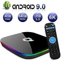Sidiwen Android 9.0 TV Box Q Plus Smart Media Box 4GB RAM 64GB ROM H6 Quad Core WIFI 2.4G Ethernet USB 3.0 Set Top Box Support 6K Ultra HD Internet Video Player