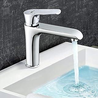 Amzdeal Waschtischarmatur | Wasserhahn mit Keramikkartusche und Neoperl Waben Belüfter | Waschbecken Armatur für Küche und Badzimmer | aus 59 Messing | Chrom | Dolphin-04