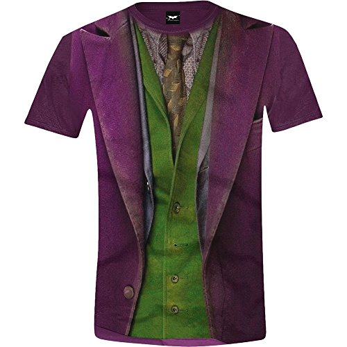 Batman: The Dark Knight - Joker Costume Full Printed Herren T-Shirt - Lila - Größe (The Knight Dark Joker Outfit)