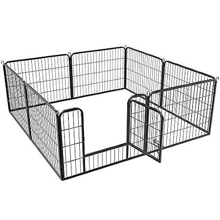 Yaheetech Welpenlaufstall Freilaufgehege Welpenauslauf Hundelaufstall Tierlaufstall für Kleintiere, mit Tür