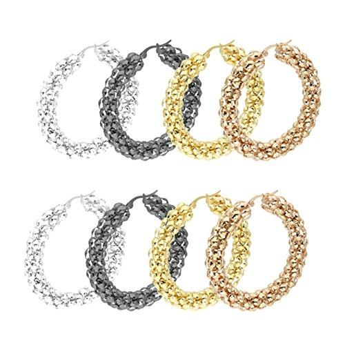Modeschmuck Reinigung (Bishiling Modeschmuck 4 Paare/8PCS Herren Damen Ohrringe Edelstahl Creolen Ohrringe Set 40MM Ohrringe Schwarz Silber Gold)