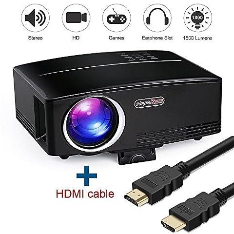 Projecteur Vidéo Full HD, HuiHeng 1200 Lumens Projecteur Vidéo Multimédia Portable LCD pour prise en charge du Home Cinéma HD 1080P HDMI VGA AV Entrée USB TF avec câble HDMI