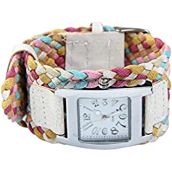 Fashion Candy Color Braided Plaited Rope Strap Wrap Quartz Lady White Wrist Watch