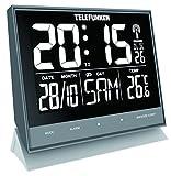 Telefunken Wecker Funkwecker Wanduhr lautlos XL groß Digital mit hochauflösendem Negativ-Display USB Anschluss zur EXT. Stromversorgung Temperatur Kalender Tasten Frontseite Grau FUX-500-HRB (G)