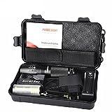 CinnamouX800 Zoomable XML T6 LED Linterna policial táctica + 18650 Batería + Cargador + Funda