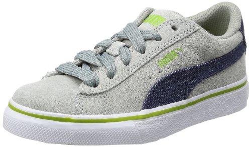 Puma Puma S Denim Jr, Low-top mixte enfant Gris - Grau (limestone gray-denim-lime green 01)