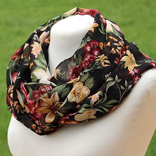 Loop-Schal Damen schwarz bunt Blumen - Chiffon - Muttertag Mama Oma Geschenkideen Geburtstagsgeschenk